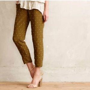 Anthropologie Olive Green Embellished Pants